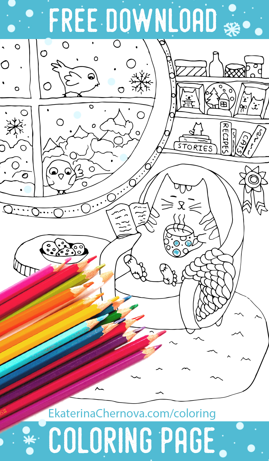 Free Download Winter Cat Coloring Page