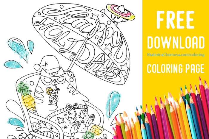 free coloring page- cat holidays beach