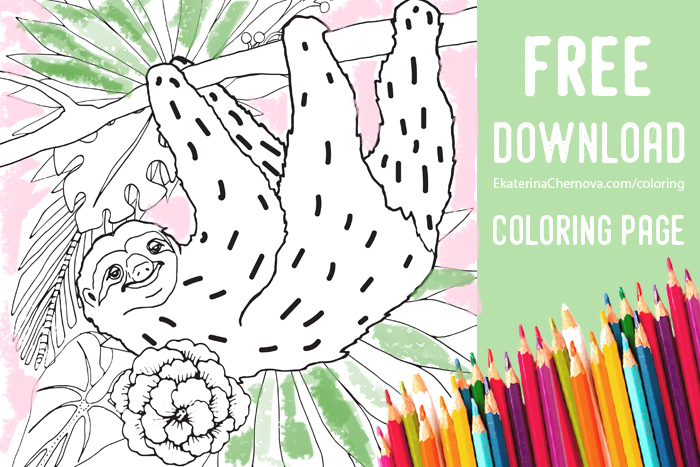 sloth coloring page free download