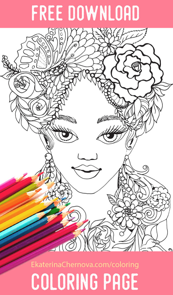 Free coloring page - flower girl