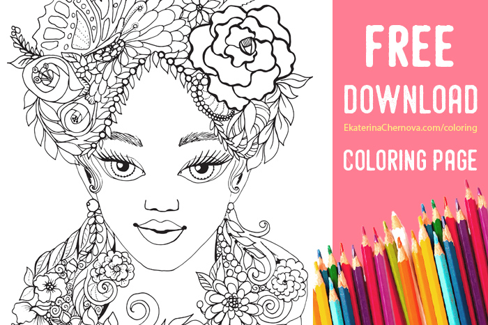 Free coloring page flower girl