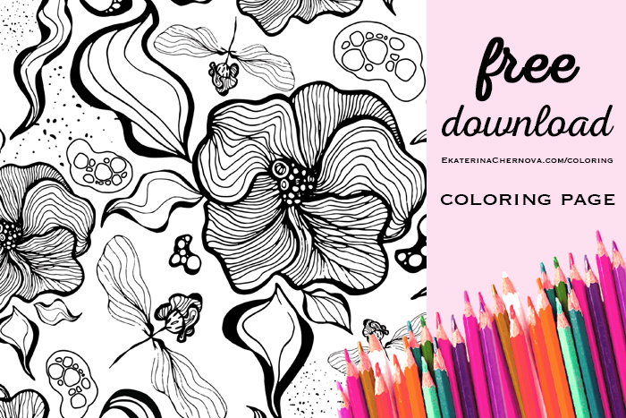 Floral Pattern Coloring Page - free download